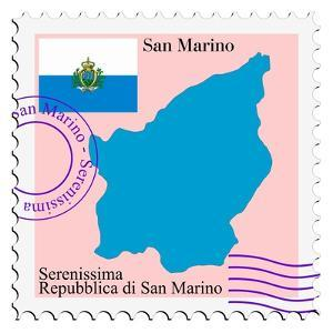 Stamp with Map and Flag of San Marino by Perysty
