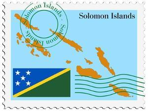 Stamp with Map and Flag of Solomon Islands by Perysty