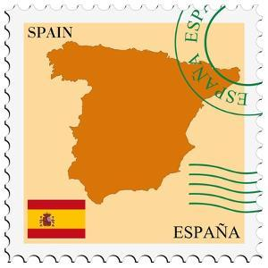 Stamp with Map and Flag of Spain by Perysty