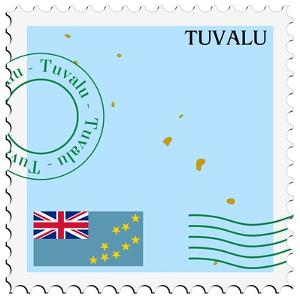 Stamp with Map and Flag of Tuvalu by Perysty