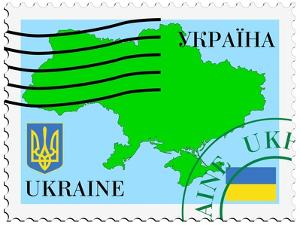 Stamp with Map and Flag of Ukraine by Perysty