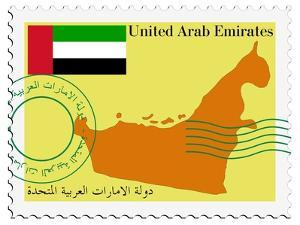 Stamp with Map and Flag of United Arab Emirates by Perysty