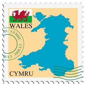 Stamp with Map and Flag of Wales by Perysty