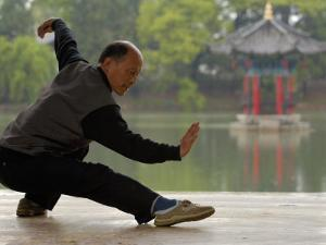 Man Doing Tai Chi Exercises at Black Dragon Pool with One-Cent Pavilion, Lijiang, China by Pete Oxford
