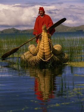 Traditiona Totora Reed Boat & Aymara, Lake Titicaca, Bolivia / Peru, South America by Pete Oxford