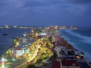 Aerial of Cancun at Night, Mexico by Peter Adams