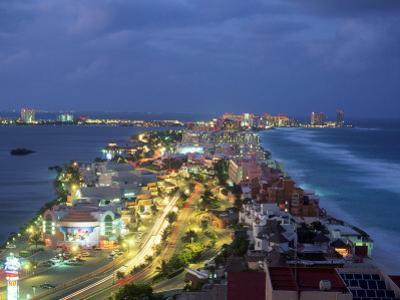 Aerial of Cancun at Night, Mexico