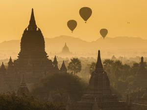 Ancient Temple City of Bagan (Pagan) and Balloons at Sunrise, Myanmar (Burma) by Peter Adams