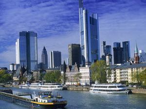 Barge on Water & Skyline, Frankfurt, Germany by Peter Adams