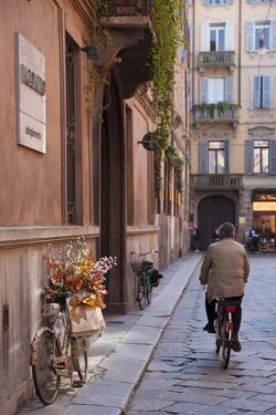 Bicycle with Flowers and Shopping Bags , Parma, Emilia Romagna, Italy by Peter Adams