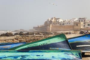 Boats and City Walls, Essaouira, Morocco by Peter Adams
