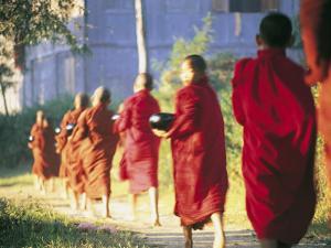 Buddhist Monks Bearing Alms, Burma by Peter Adams