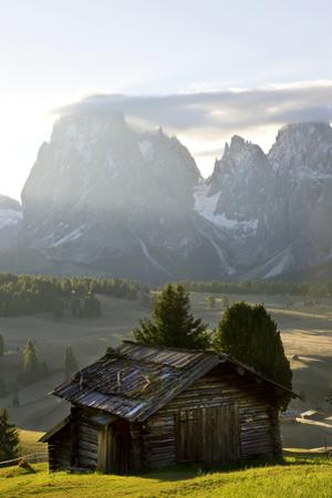 Cabins, Seiser Alm Sassolungo, Alpe di Siusi, South Tyrol, Italy by Peter Adams