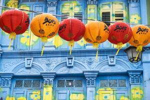 Chinese Lanterns and Colourful Old Building, Singapore by Peter Adams