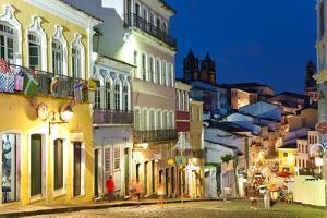 Colonial Centre at Dusk, Pelourinho, Salvador, Bahia, Brazil by Peter Adams