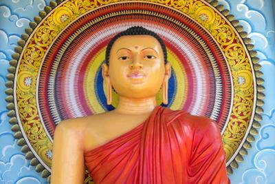 Colourful Buddha Statue, Mirrisa, South Coast, Sri Lanka by Peter Adams