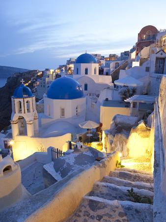 Dusk, Oia, Santorini, Cyclades Islands, Greece