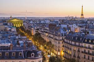 Eiffel Tower and Paris Skyline at Dusk, Paris, France by Peter Adams