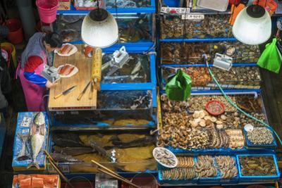 Elevated view of fish stalls, Noryangjin Fish Market, Seoul, South Korea by Peter Adams