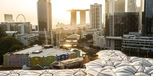 Elevated View over the Entertainment District of Clarke Quay, Singapore River and City Skyline by Peter Adams