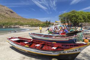 Fishing Boats on Beach, Tarrafal, Santiago Island, Cape Verde by Peter Adams