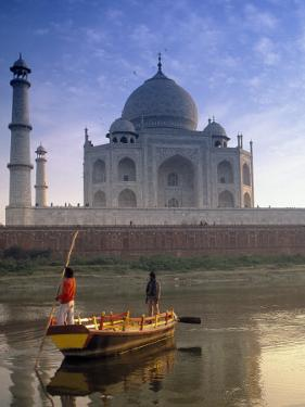 Gondola in Front of Taj Mahal, Agra, India by Peter Adams