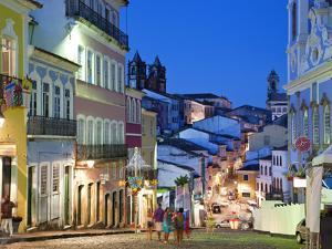 Historic Centre at Dusk, Pelourinho, Salvador, Bahia, Brazil by Peter Adams