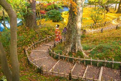 Japanese woman in traditional dress, Kenrokuen Garden, Kanazawa, Japan by Peter Adams