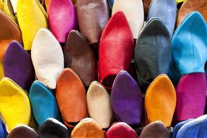 Leather Slippers for Sale in the Souk, Marrakech (Marrakesh), Morocco by Peter Adams