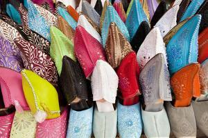 Leather Slippers for Sale in the Souk, Marrakech, Morocco by Peter Adams