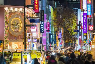 Myeong-Dong district at night. The location is the premiere district for shopping in the city