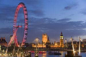Parliament, London Eye and Jubilee Bridge on River Thames, London, UK by Peter Adams