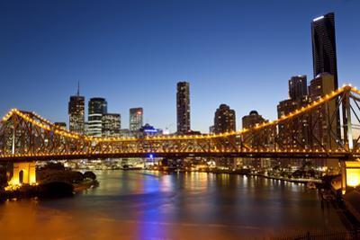 Story Bridge and Skyline Along the Brisbane River, Brisbane, Australia by Peter Adams