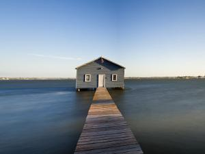 Swan River, Boat House and Jetty Perth, Wa, Western Australia, Australia by Peter Adams