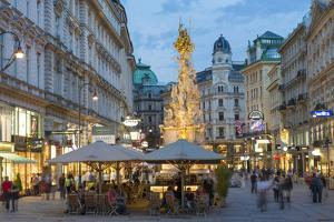 The Plague Column, Graben Street at Night, Vienna, Austria by Peter Adams