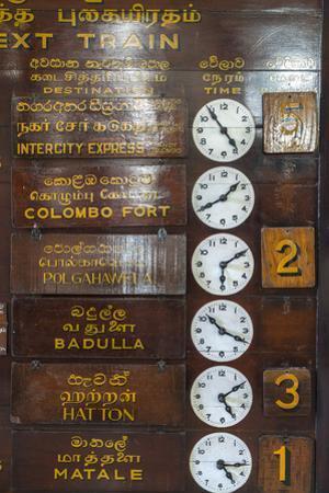 Train timetable, Kandy tain station, Sri Lanka by Peter Adams