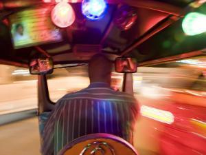 Tuk Tuk or Auto Rickshaw at Night, Bangkok, Thailand by Peter Adams