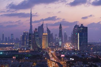View of downtown Dubai at dusk, United Arab Emirates, U.A.E by Peter Adams