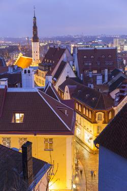 View of Old Town at Dusk, from Toompea, Tallinn, Estonia by Peter Adams
