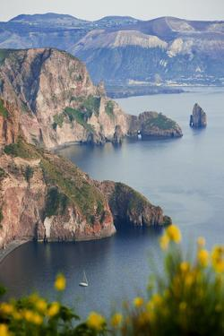 View of Volcano Island from Quattrocchi, Lipari Island, Sicily, Italy by Peter Adams