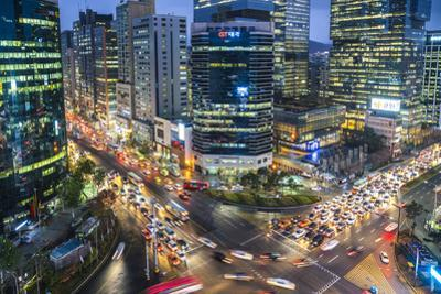View over busy Gangnam at dusk, Gangnam District, Seoul, South Korea