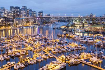 View over Harbour and Granville Island with City Skyline at Dusk, Vancouver, British Colombia
