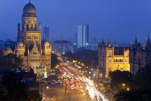 View over Victoria Terminus and Central Mumbai at Dusk, Mumbai, India by Peter Adams