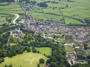 Aerial View of Arundel Castle, Cricket Ground and Cathedral, Arundel, West Sussex, England, UK by Peter Barritt