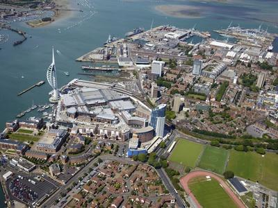 Aerial View of the Spinnaker Tower and Gunwharf Quays, Portsmouth, Hampshire, England, UK, Europe