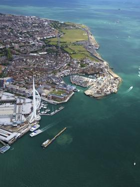 Aerial View of the Spinnaker Tower and Gunwharf Quays, Portsmouth, Solent, Hampshire, England, UK by Peter Barritt