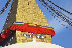 All Seeing Eyes of the Buddha, Boudhanath Stupa, UNESCO World Heritage Site, Kathmandu, Nepal, Asia by Peter Barritt