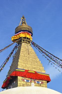 All Seeing Eyes of the Buddha, Boudhanath Stupa, UNESCO World Heritage Site, Kathmandu, Nepal, Asia by Peter Barritt