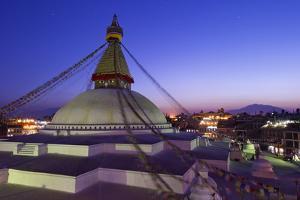 Boudhanath Stupa at Sunset, UNESCO World Heritage Site, Kathmandu, Nepal, Asia by Peter Barritt