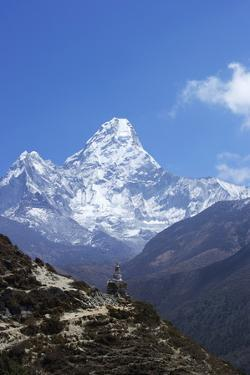 Buddhist Stupa on Trail with Ama Dablam Behind by Peter Barritt